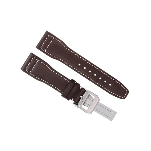 22MM LEATHER WATCH STRAP BAND DEPLOYMENT CLASP FOR IWC PILOT SHINY BROWN WS