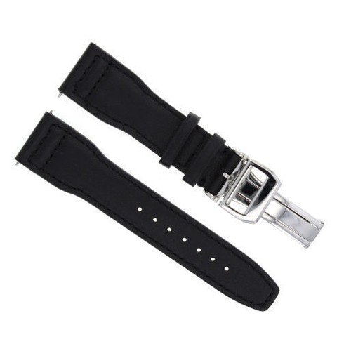 23MM LEATHER WATCH STRAP BAND DEPLOYMENT CLASP FOR IWC PILOT TOP GUN BLACK SHINY