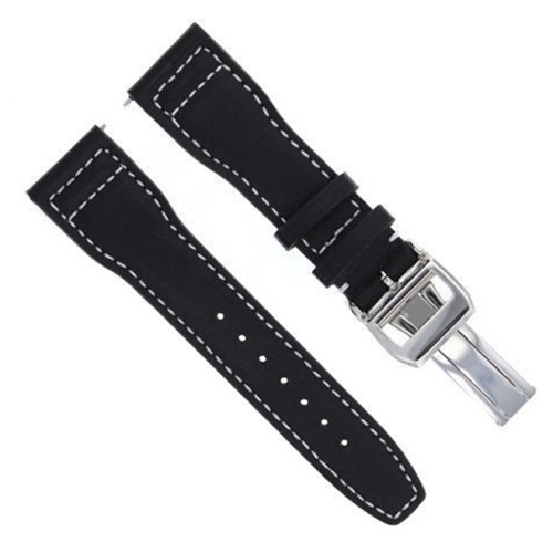 23MM LEATHER WATCH STRAP BAND FOR IWC PORTUGUESE PILOT SHINY CLASP BLACK WS#SC-1