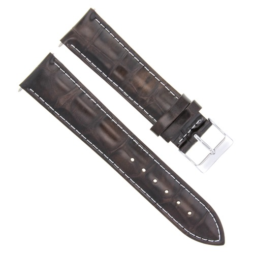 24MM LEATHER WATCH STRAP BAND FOR FOSSIL DARK BROWN WHITE STITICHING