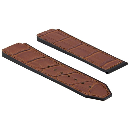 24MM LEATHER RUBBER BAND STRAP FOR HUBLOT H BIG BANG 44-45MM WATCH L/BROWN TAN