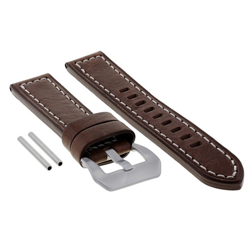 22MM PREMIUM LEATHER WATCH BAND STRAP FOR ZENITH PILOT TYPE WATCH D/BROWN WS