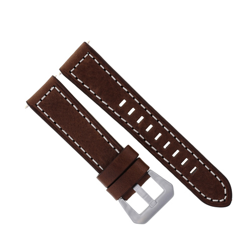 20MM LEATHER BAND STRAP DEPLOYMENT CLASP FOR CITIZEN D//BROWN ORANGE STITCHING 3B