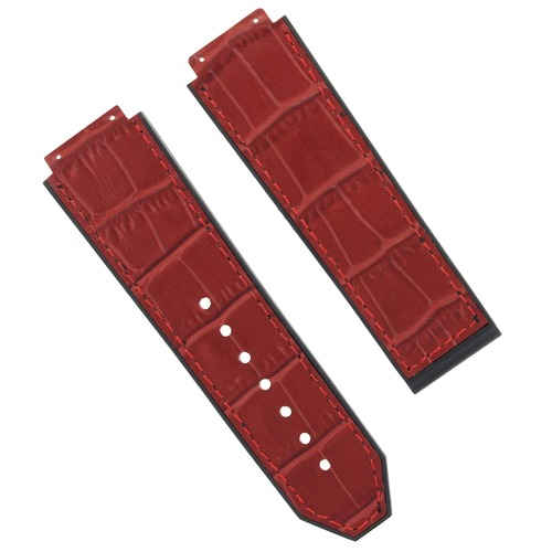 25MM ALLIGATOR LEATHER RUBBER BAND STRAP CLASP FOR 44-45MM HUBLOT H BIG BANG RED