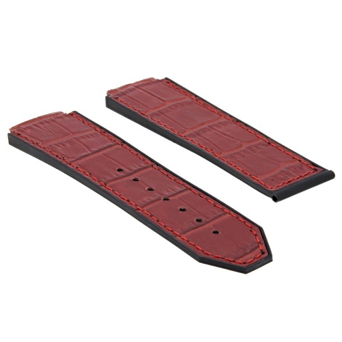 25MM ALLIGATOR LEATHER RUBBER BAND STRAP FOR HUBLOT FUSION H BIG BANG WATCH RED