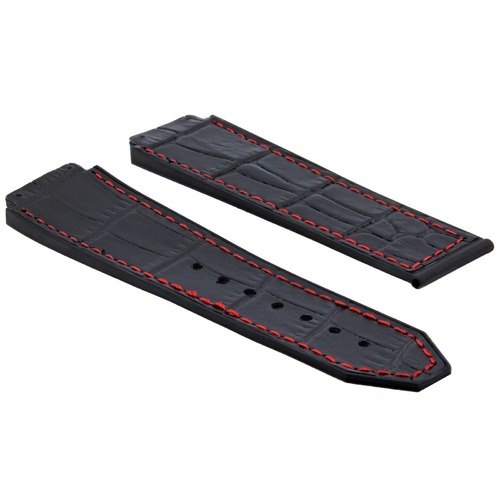 25MM GATOR LEATHER RUBBER BAND STRAP CLASP FOR HUBLOT H BIG BANG BLACK RED STIT