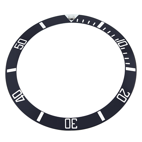 REPLACEMENT BEZEL INSERT BLACK FOR WATCH 37MM X 30MM SILVER FONTS
