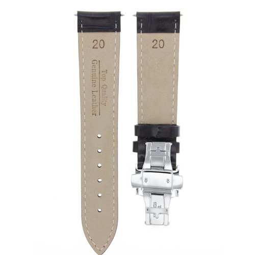 20/16MM LEATHER WATCH BAND STRAP CLASP FOR ROLEX DATEJUST 1601 16233 16234 BLACK