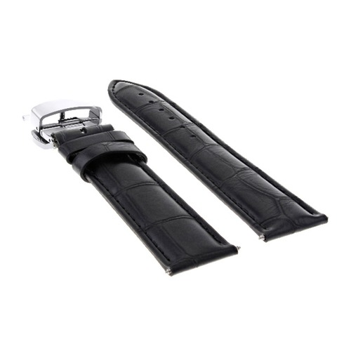 19/16MM LEATHER WATCH BAND STRAP DEPLOYMENT CLASP FOR ROLEX AIRKING WATCH BLACK