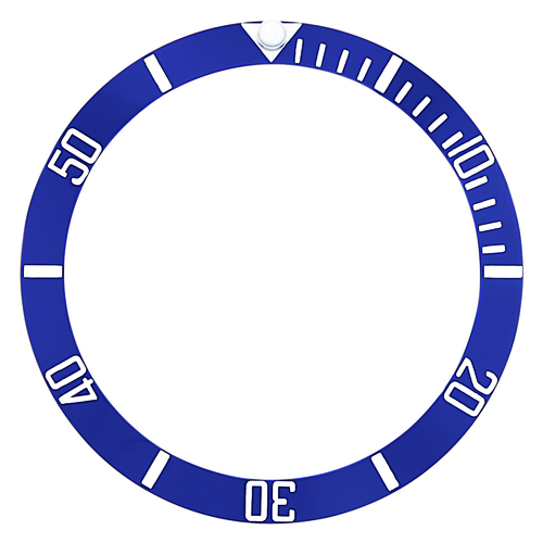 BEZEL INSERT CERAMIC FOR ROLEX SUBMARINER ENGRAVED # BLUE SILVER 16800 16808
