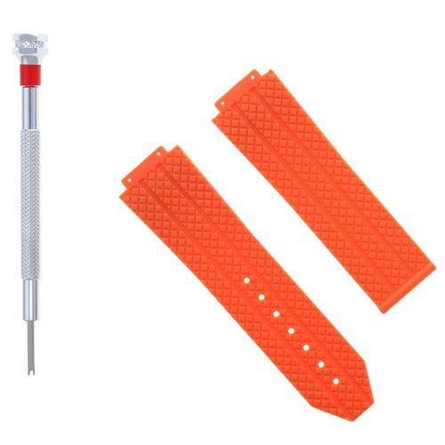 24MM RUBBER BAND STRAP FOR 44-45MM HUBLOT H BIG BANG + SCREWDRIVER ORANGE #6H
