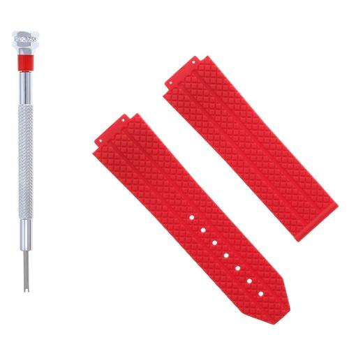 24MM RUBBER BAND STRAP FOR 44-44.5-45MM HUBLOT H BIG BANG + SCREWDRIVER RED #6H