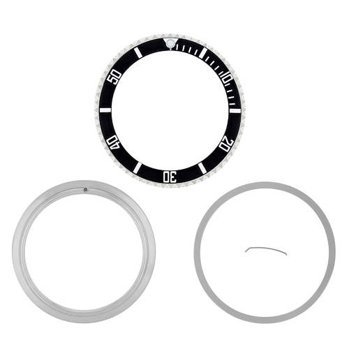 BEZEL + CERAMIC + RETAINING FOR ROLEX SUBMARINER 16800 16803 16808 16613 BLACK