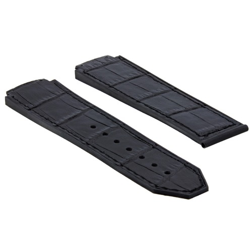 25MM ALLIGATOR LEATHER RUBBER BAND STRAP FOR HUBLOT BIG BANG FUSION H BLACK