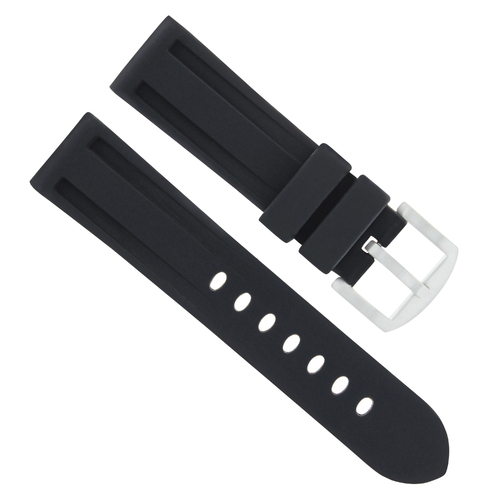 24MM WATCH BAND RUBBER SILICONE STRAP FOR TUDOR FASTRIDER BLACK SHEILD BLACK