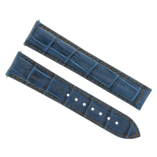 LEATHER STRAP BAND FOR 20MM MAURICE LACROIX DOUBLE RETROGRADE GMT WATCH BLUE OS