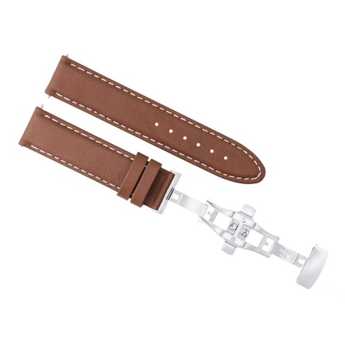 22MM LEATHER STRAP BAND CLASP FOR BAUME MERCIER CAPELAND 8692 8733 L/BROWN WS
