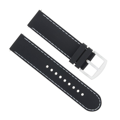 22MM SOFT RUBBER DIVER BAND STRAP FOR INVICTA RUSSIAN 1326 BLACK WHITE STITCHING