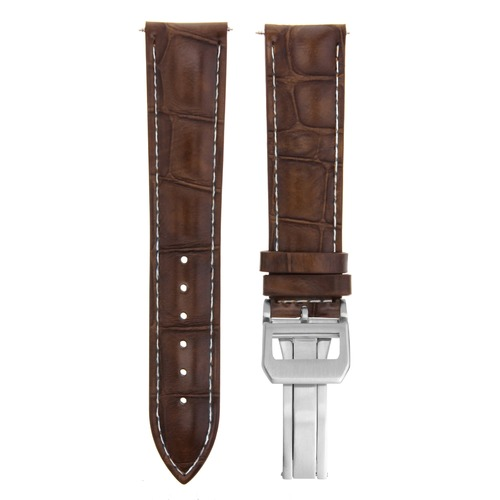 22MM LEATHER WATCH BAND STRAP CLASP FOR IWC PORTUGUESE CHRONOGRAPH L/BROWN WS 7B