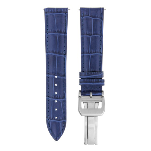 22MM LEATHER WATCH BAND STRAP FOR IWC PILOT PORTUGUESE DEPLOYMENT CLASP BLUE