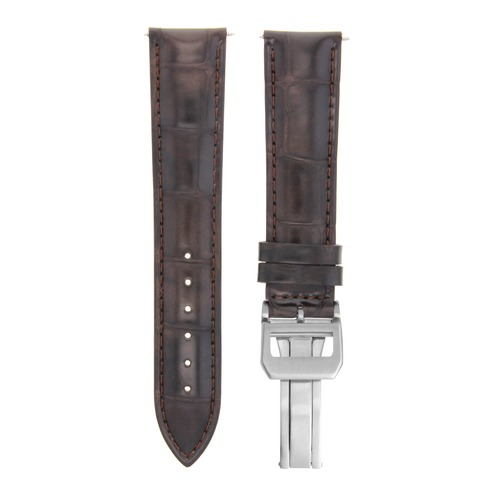 22MM LEATHER STRAP WATCH BAND FOR IWC PORTUGUESE  DEPLOYMENT CLASP DARK BROWN