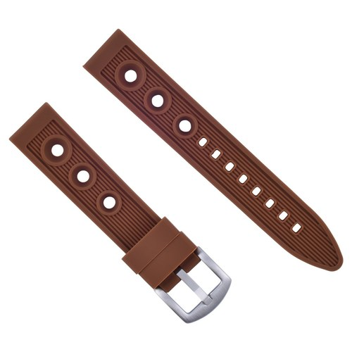 20MM RUBBER DIVER BAND STRAP FOR CITIZEN ECO-DRIVE BL5250-02L WATCH BROWN TOP QY