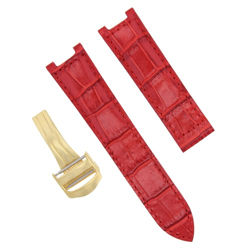 LEATHER WATCH STRAP BAND CLASP FOR 35MM CARTIER PASHA 2324 WATCH 18MM RED GOLD