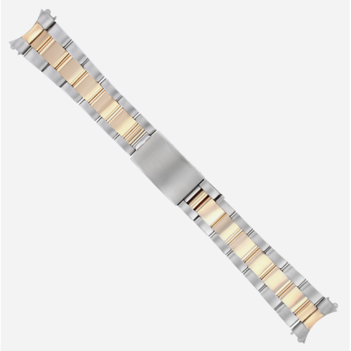 MENS TWO TONE OYSTER WATCH BAND REAL GOLD 18K/SS ROSE GOLD 20MM