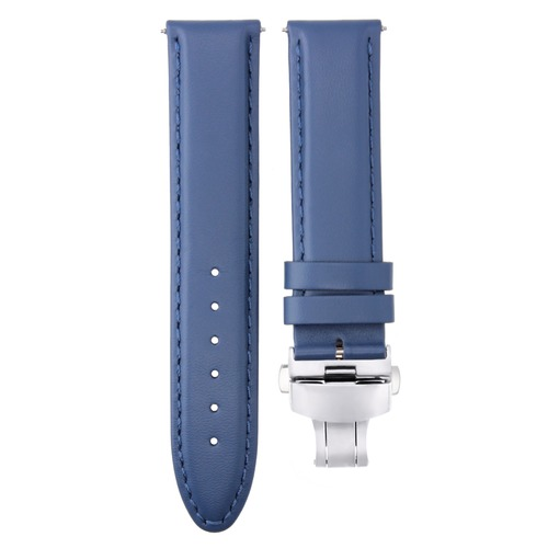 18-19-20MM GENUINE LEATHER BAND STRAP SMOOTH DEPLOYMENT CLASP FOR ROLEX BLUE #2