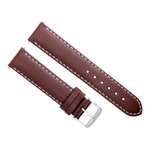 24MM LEATHER WATCH STRAP BAND FOR ZENO MAGELLANO WATCH LIGHT BROWN WHITE STITCH