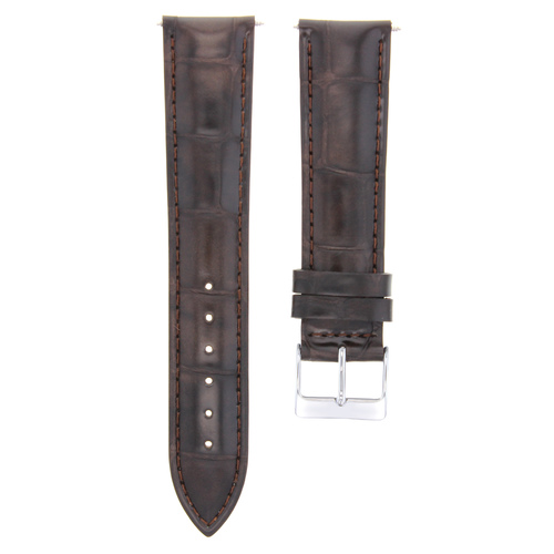 22MM ITALIAN LEATHER WATCH STRAP BAND FOR MENS CHOPARD WATCH DARK BROWN