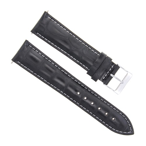 18MM LEATHER WATCH STRAP BAND FOR JAEGER LECOULTRE WATCH BLACK WHITE STITCHING