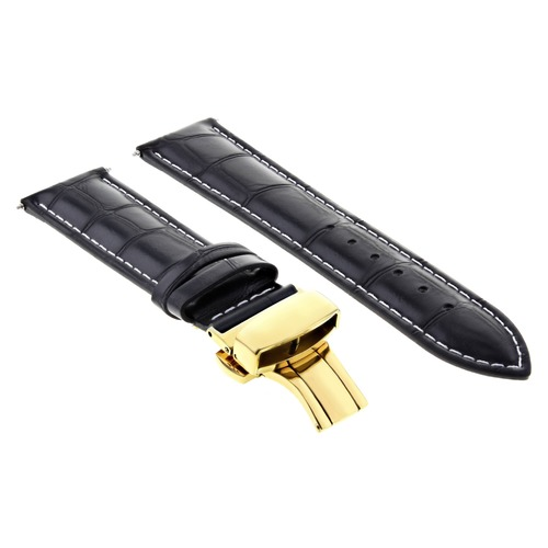 18-19-20-21-22-23-24MM LEATHER STRAP BAND DEPLOY CLASP FOR BAUME MERCIER GOLD