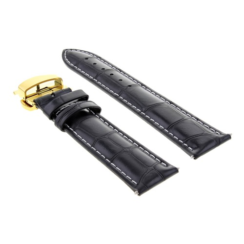 17,19,20MM LEATHER BAND STRAP DEPLOYMENT CLASP FOR ROLEX 3B GOLD