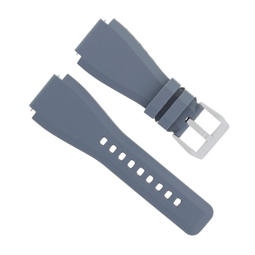 24MM RUBBER STRAP WATCH BAND FOR BELL ROSS BR-01-BR-03 MODEL WATCH GREY BRUSH