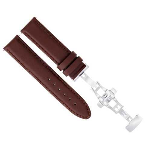 18-19-20-22-24MM LEATHER BAND STRAP SMOOTH DEPLOY CLASP FOR LONGINES L/BROWN #2