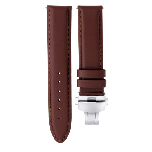 18-20-22-24MM LEATHER BAND STRAP SMOOTH DEPLOYMENT CLASP FOR CHOPARD L/BROWN #2