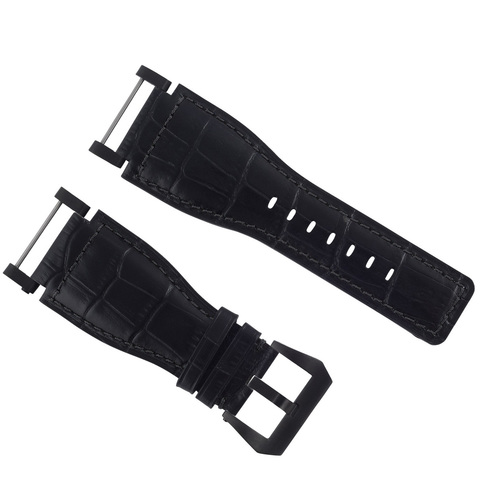 24MM SUUNTO CORE LEATHER WATCH BAND STRAP WITH ADAPTER BLACK PVD TOP QUALITY