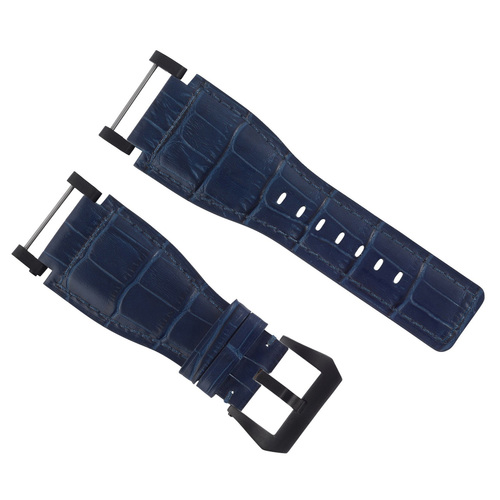24MM SUUNTO CORE LEATHER WATCH BAND STRAP WITH ADAPTER BLUE PVD TOP QUALITY