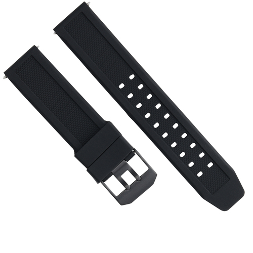 23MM RUBBER WATCH BAND STRAP FOR CITIZEN NAVIHAWK ECO DRIVE PVD BLACK BUCKLE