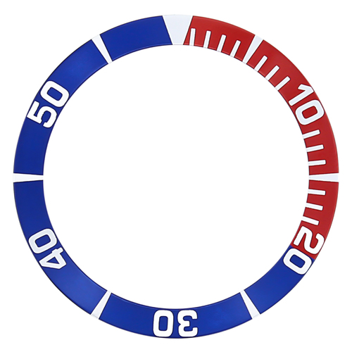 BEZEL INSERT FOR SEIKO 5 SEA URCHIN SNZF15K1,SNZF17 WATCH AUTO DIVER BLUE/RED