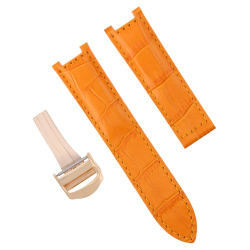 21MM LEATHER STRAP BAND FOR CARTIER DE PASHA WATCH ORANGE DEPLOYMENT CLASP ROSE