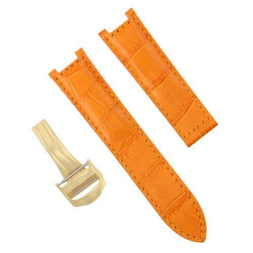 21MM LEATHER STRAP BAND CLASP FOR 42MM CARTIER PASHA 3027 2113 WATCH ORANGE GOLD