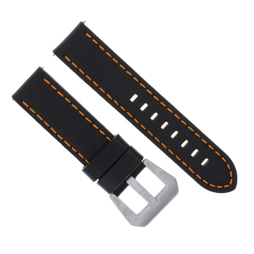 22MM COW LEATHER WATCH BAND STRAP FOR ANONIMO WATCH BLACK ORANGE STITCHING