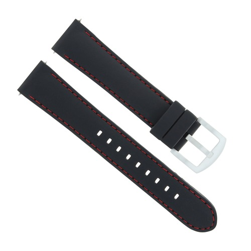 20MM RUBBER BAND STRAP FOR TISSOT PRC100 T-SPORT CHRONOGRAPH BLACK RED STITCH