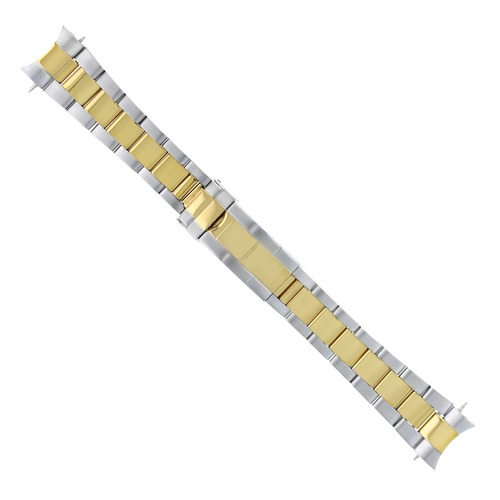 19MM OYSTER WATCH BAND FOR 34MM ROLEX DATE PERPETUAL TWO TONE  FLIP LOCK CLASP