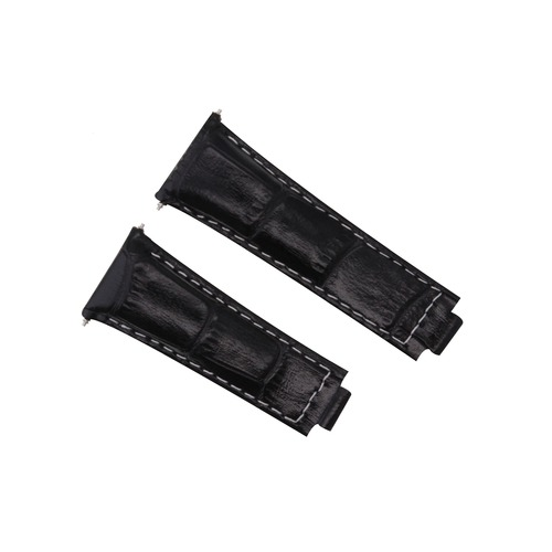 LEATHER STRAP WATCH BAND  FOR ROLEX DAYTONA 16518 116520 116523 BLACK WHITE ST