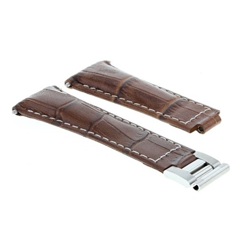 LEATHER WATCH STRAP BAND FOR ROLEX DAYTONA 116520 116523  L/BROWN WHITE STITCH