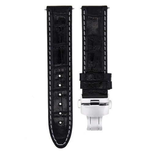 20MM LEATHER WATCH STRAP BAND CLASP FOR 36MM ROLEX DATEJUST, DATE WATCH BLACK WS