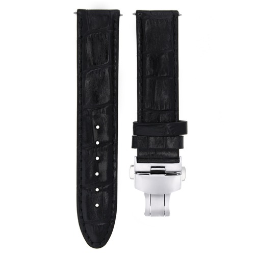 18MM PREMIUM LEATHER WATCH STRAP BAND FOR TUDOR DATE WATCH BUTTERFLY CLASP BLACK
